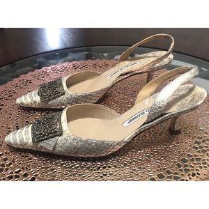 Manolo Blahnik Size 38.5 Natural Python Betty Heel